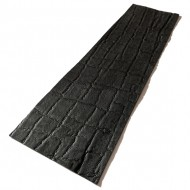 Black Elephant Ear Embossed Cowhide Leather