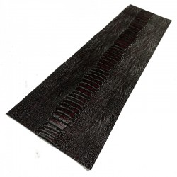 BK / Red Wine Ostrich Leg Embossed Cowhide Leather